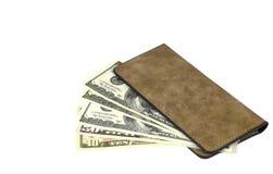 Dollars in geïsoleerde portefeuille Stock Foto