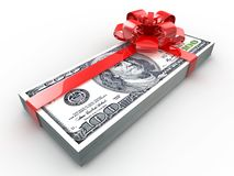 Dollars gift pack Stock Photos