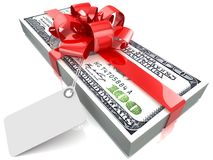 Dollars gift pack. 100 dollars gift pack isolated on white background 3d Royalty Free Stock Images