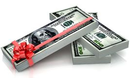 Dollars gift pack. 100 dollars gift pack isolated on white background 3d Vector Illustration