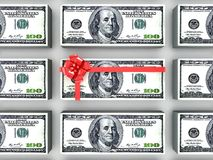 Dollars gift pack. 100 dollars gift pack isolated on white background 3d Stock Images