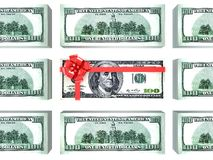 Dollars gift pack. 100 dollars gift pack isolated on white background 3d Royalty Free Stock Image
