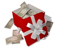 Dollars in giftbox Stock Photography