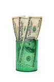 Dollars  in  glass Royalty Free Stock Images