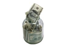 Dollars in a glass jar Royalty Free Stock Photos