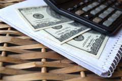 Dollars and glasses. Two hundre dollars and glasses Stock Image