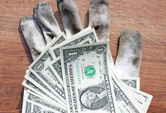 Dollars and gloves Stock Photography