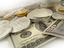 Dollars, Gold and Silver U.S. Money Royalty Free Stock Photography