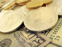 Dollars, Gold and Silver U.S. Money Stock Image