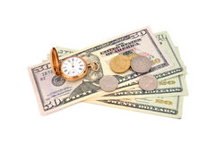 Dollars and  gold watch Royalty Free Stock Image