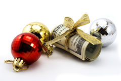 Dollars with golden ribbon Stock Photography