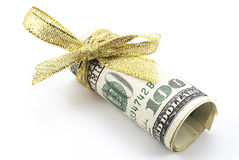 Dollars with golden ribbon Royalty Free Stock Photo