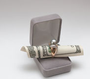 Dollars and golden ring royalty free stock image