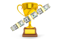Dollars and Golden Trophy Cup Royalty Free Stock Images