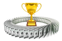 Dollars and Golden Trophy Cup Stock Photography