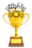 Dollars and Golden Trophy Cup Royalty Free Stock Image