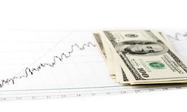 Dollars on graph Royalty Free Stock Photos