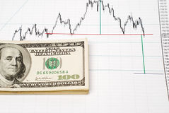 Dollars on graph Stock Photo