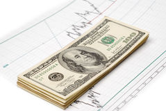Dollars on graph Royalty Free Stock Photography
