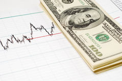 Dollars on graph Stock Images