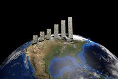 Dollars graph on globe Stock Photo