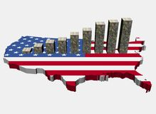 Dollars graph on USA map flag Royalty Free Stock Photos