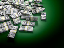 Dollars on green. Dollars on a green table Stock Photography