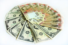 Dollars and grivnas banknotes isolated Stock Images