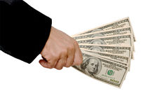 Dollars in hand Stock Photography