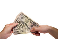 Dollars in hand royalty free stock photography
