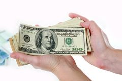 Dollars in the hand Royalty Free Stock Photo
