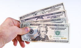 Dollars in hand Stock Photo
