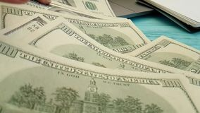 Dollars hand desktop slow-motion payment finance. Dollars hand desktop slow-motion budget payment finance stock footage