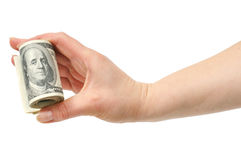Dollars in hand Stock Photos