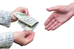 Dollars in the hand Stock Photo
