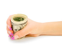 Dollars in a hand. Royalty Free Stock Photos