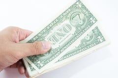 Dollars on hand Stock Photo