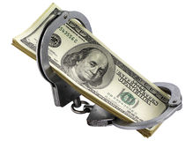 Dollars in handcuffs. Crime concept associated with dollars Stock Photography