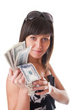Dollars in hands Stock Photos