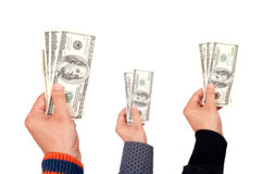 Dollars in the hands Royalty Free Stock Images