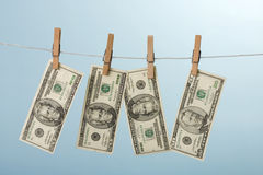 Dollars hanging on line Royalty Free Stock Photography