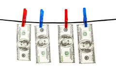 Dollars hanging on a rope Stock Photography