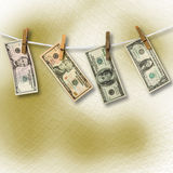 Dollars hanging from a rope. Conceptu Stock Photos