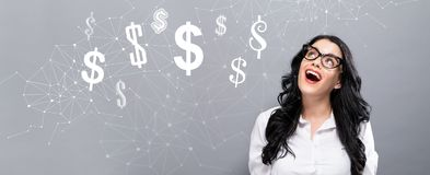 Dollars with happy young businesswoman Stock Images