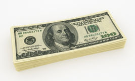 Dollars heap. Folded pack of U.S. dollars. 3D vector illustration