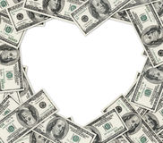 Dollars heart. Heart frame of dollars as vignette with space for text Royalty Free Stock Image