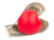 Dollars and heart Stock Photos