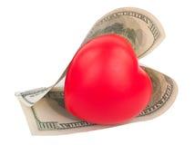 Dollars and heart Stock Photos