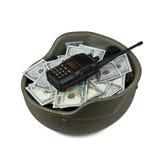 Dollars in a helmet Stock Image