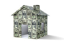 Dollars house. 3D house made from dollars on white background Royalty Free Stock Photography